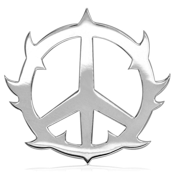 Large Guarded Peace Sign Charm, 1.25 Inch in Sterling Silver