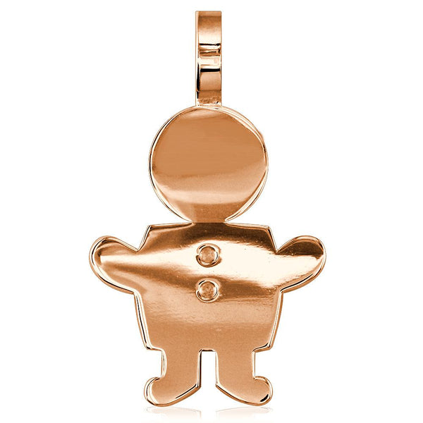 Extra Large Sziro Boy Charm for Mom, Grandma in 14k Pink Gold