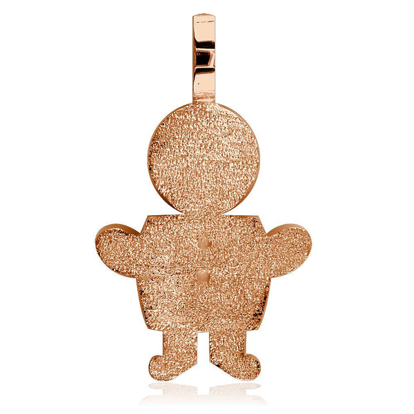 Extra Large Sziro Boy Charm with Texture for Mom, Grandma in 18k Pink Gold