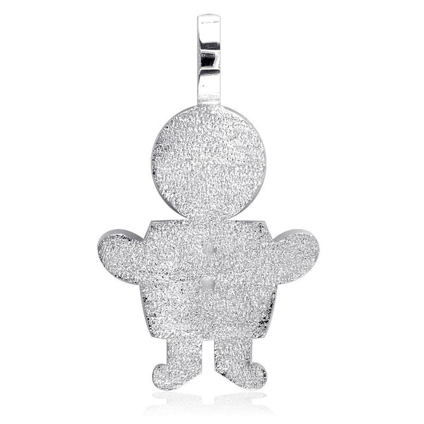 Extra Large Sziro Boy Charm with Texture for Mom, Grandma in 18k White Gold