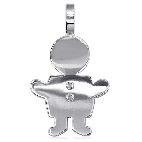 Extra Large Sziro Boy Charm for Mom, Grandma in 18k White Gold