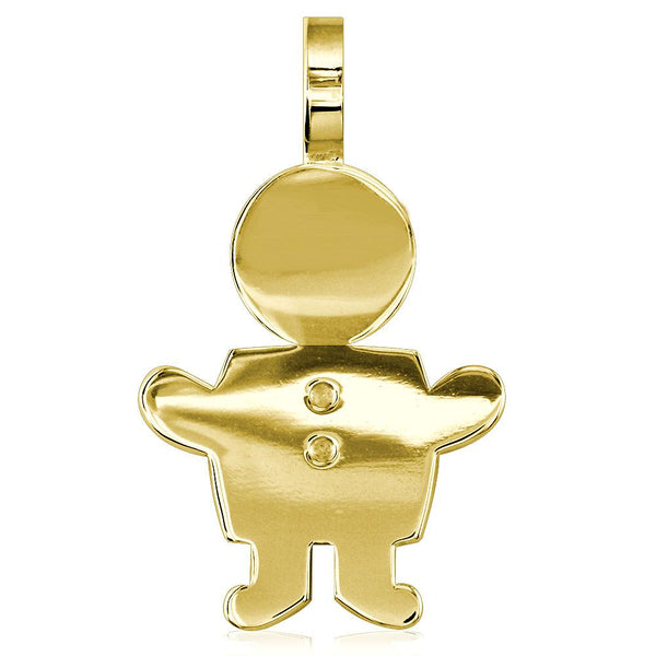 Extra Large Sziro Boy Charm for Mom, Grandma in 14k Yellow Gold