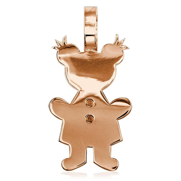 Extra Large Sziro Girl Charm for Mom, Grandma in 14k Pink Gold