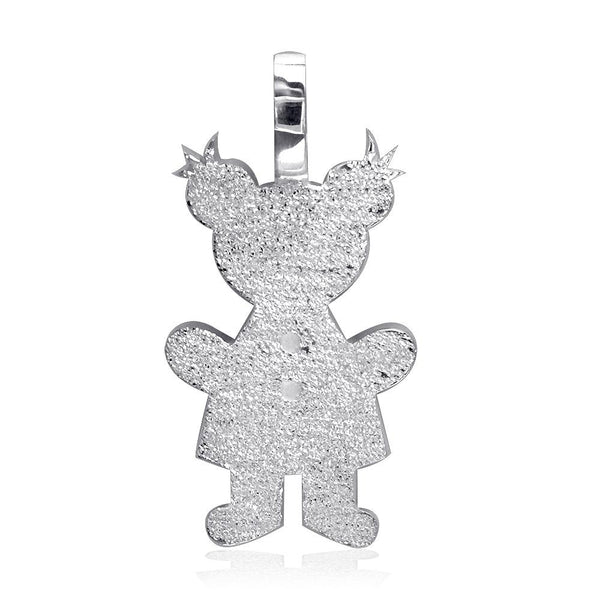 Extra Large Classic Kids Sterling Silver Sziro Girl Charm with Texture for Mom, Grandma in Sterling Silver