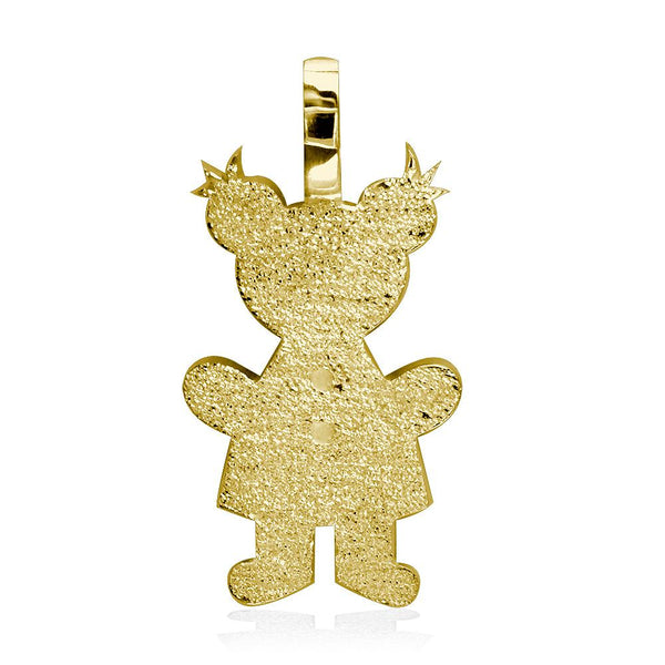 Extra Large Sziro Girl Charm with Texture for Mom, Grandma in 18k Yellow Gold