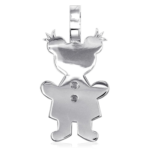 Extra Large Sziro Girl Charm for Mom, Grandma in 14k White Gold