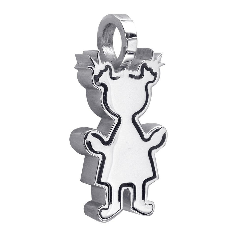 Extra Large Classic Kids Sterling Silver Sziro Girl Charm for Mom, Grandma in Sterling Silver