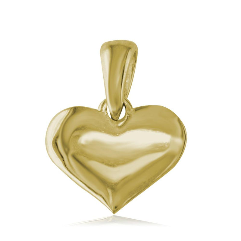 Small Plain Engraved Heart Charm in 18K Yellow gold