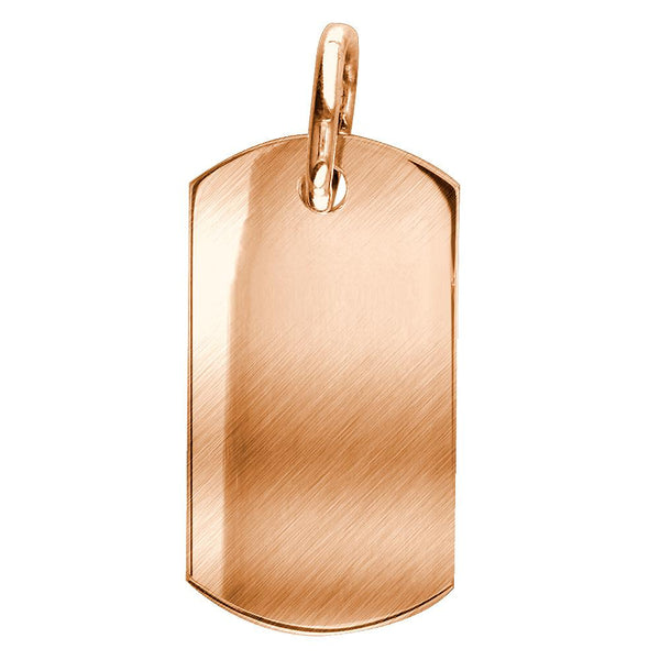 Matte Finish Extra Large Plain, Blank Dog Tag Pendant, Charm in 14K Pink, Rose gold