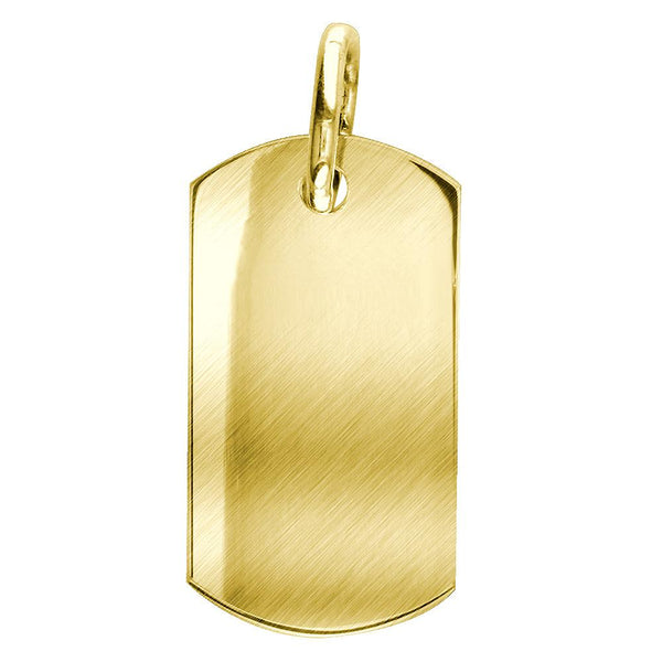 Matte Finish Extra Large Plain, Blank Dog Tag Pendant, Charm in 14K Yellow Gold
