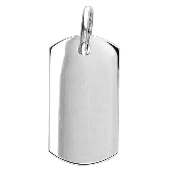 Extra Large Plain, Blank Dog Tag Pendant, Charm in 14K White Gold