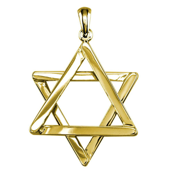 Medium Jewish Star of David Sticks Charm with Rounded Corners in 14k Yellow Gold
