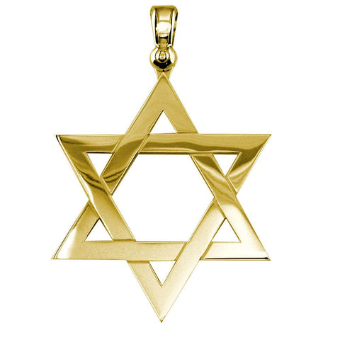 Extra Large Jewish Star Charm in 14k Yellow Gold
