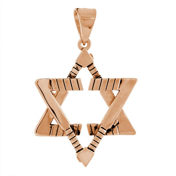 Extra Large Jewish Star of David Goalie Hockey Sticks Charm with Black in 18K Pink, Rose gold