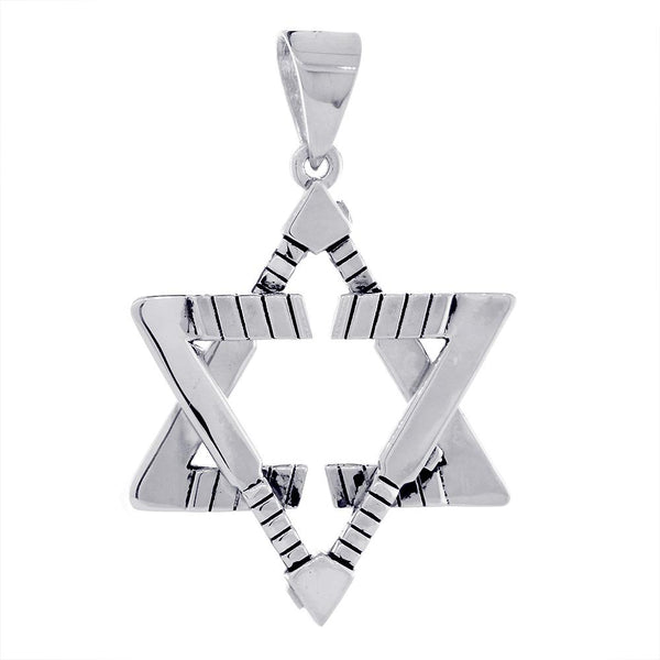 Extra Large Jewish Star of David Goalie Hockey Sticks Charm with Black in 18K White Gold