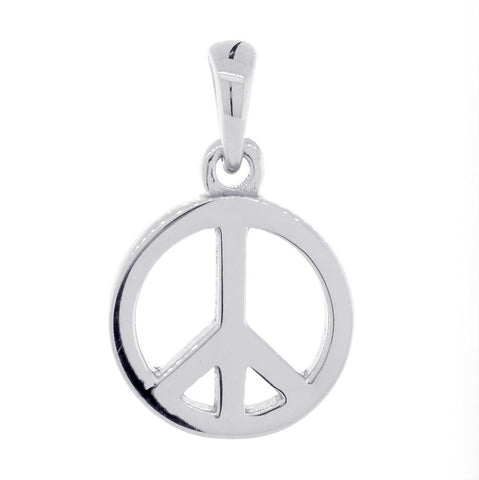 Small Solid Peace Sign Charm in 18K White gold