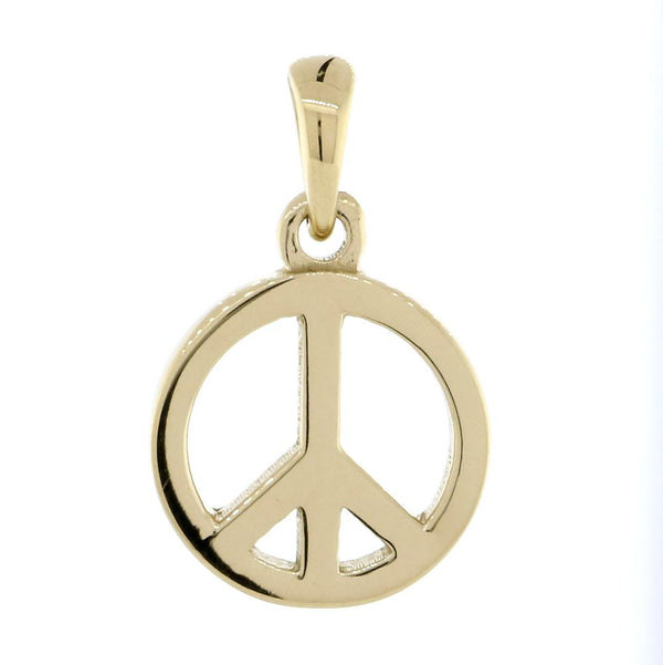Small Solid Peace Sign Charm in 14K Yellow Gold
