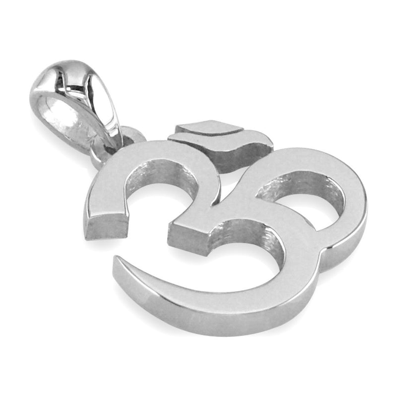 Medium Classic Yoga Ohm, Om, Aum Charm in Sterling Silver
