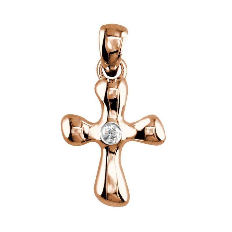 Small Free Form 3D Diamond Cross Charm, 13mm in 18K Pink, Rose gold