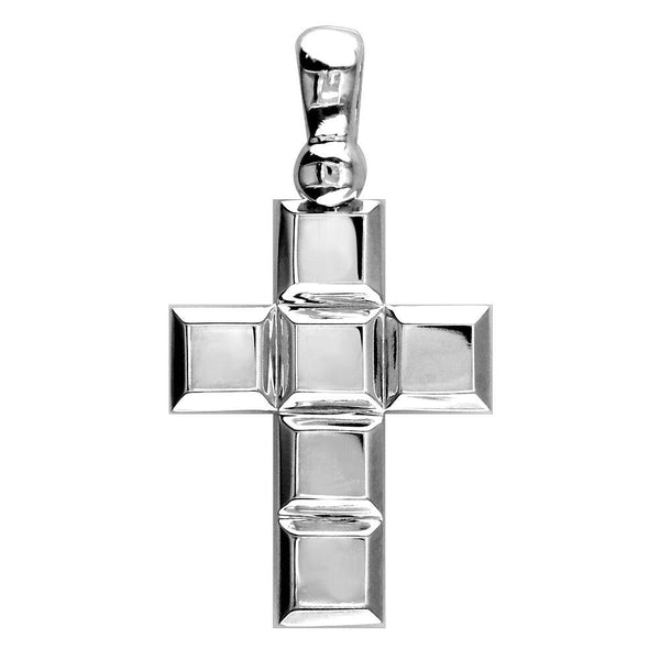 Large Beveled Squares Cross with Black 18mm in Sterling Silver