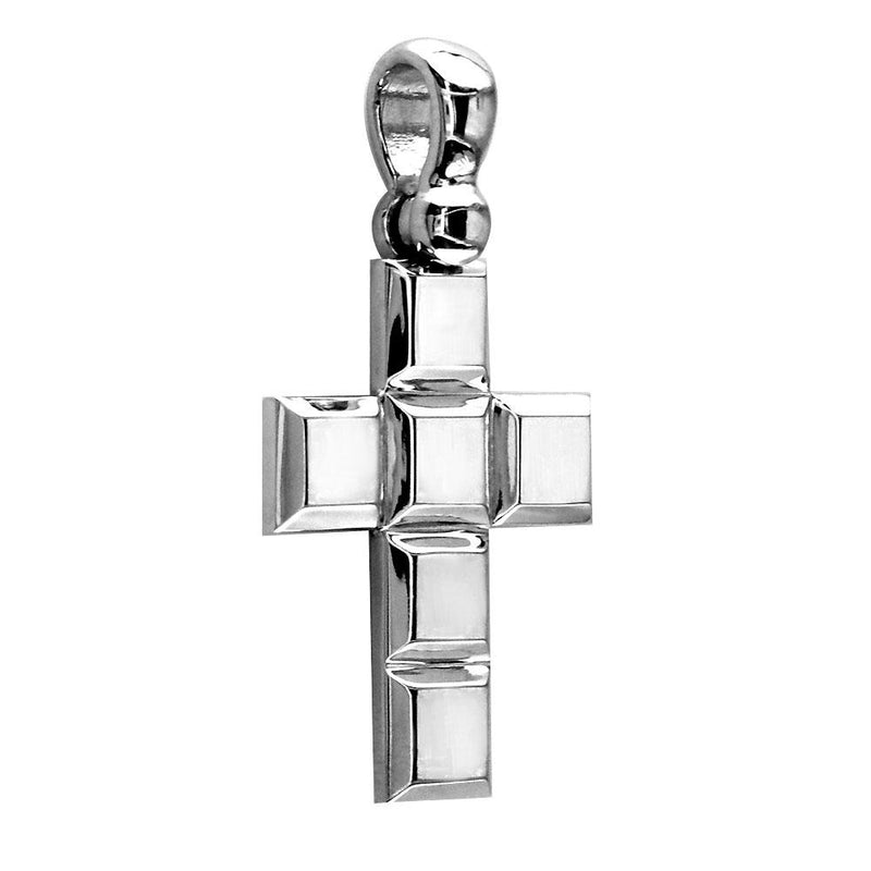 Large Beveled Squares Cross,18mm in 14K White Gold