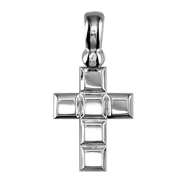 Smaller Size Beveled Squares Cross Charm,18mm in 18K white gold