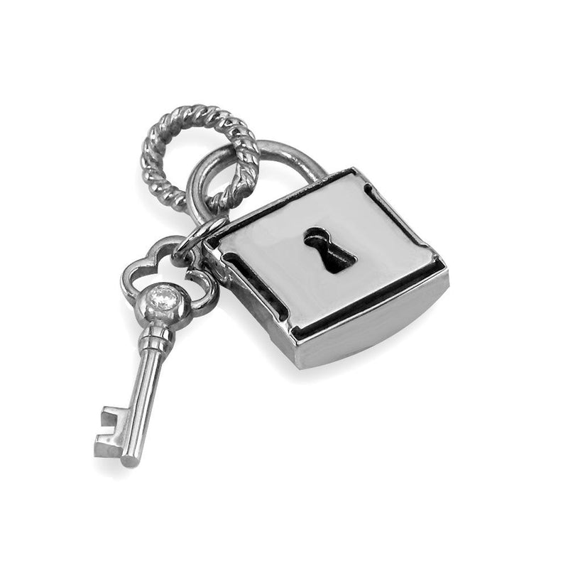 Diamond Lock and Key Charm, Hollow Lock in 14K White Gold