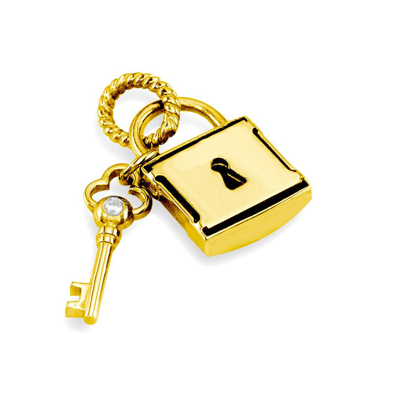 Diamond Lock and Key Charm, Hollow Lock in 14K Yellow Gold