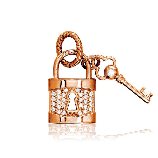 Lock and Key Charm, Solid Lock with Cubic Zirconias in 14K Pink, Rose Gold