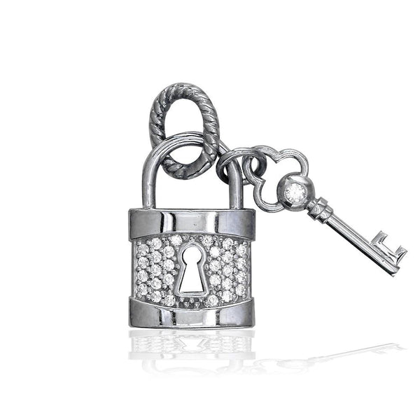 Lock and Key Charm, Hollow Lock with Cubic Zirconias in 14K White Gold