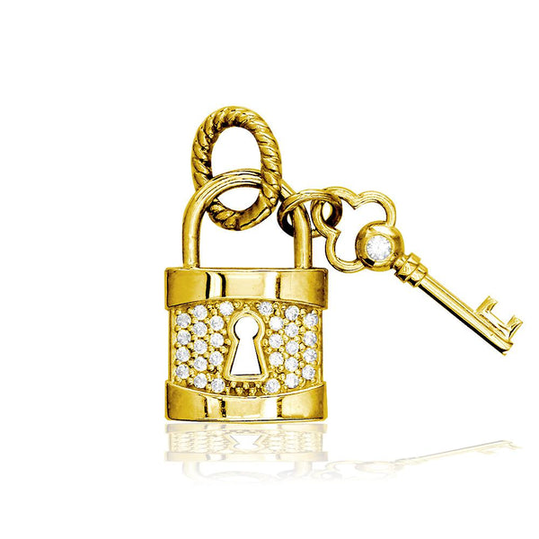 Lock and Key Charm, Solid Lock with Cubic Zirconias in 14K Yellow Gold