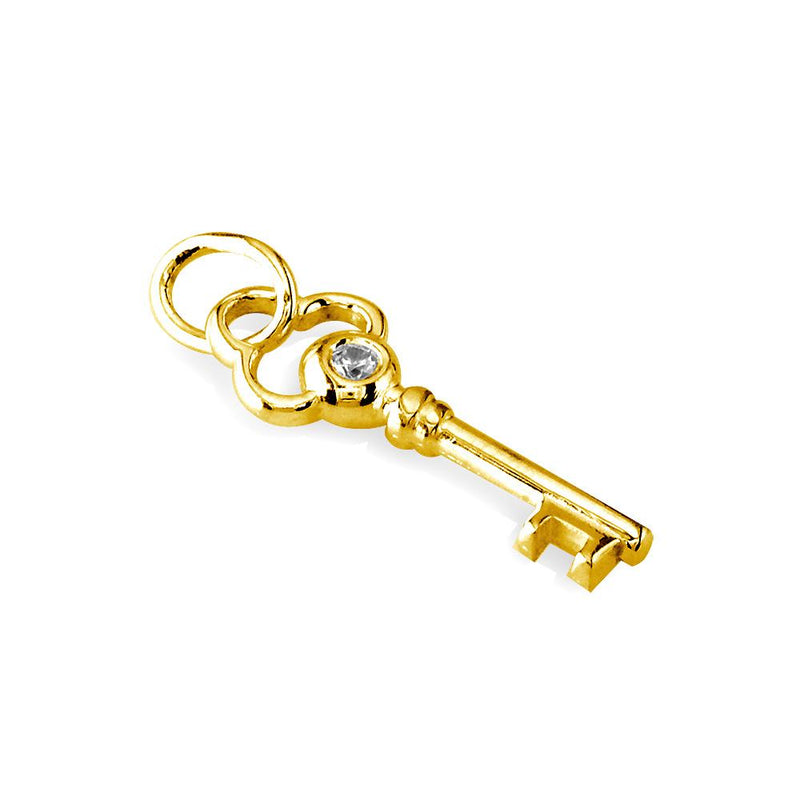 Small Key Charm with Cubic Zirconias in 14K Yellow Gold
