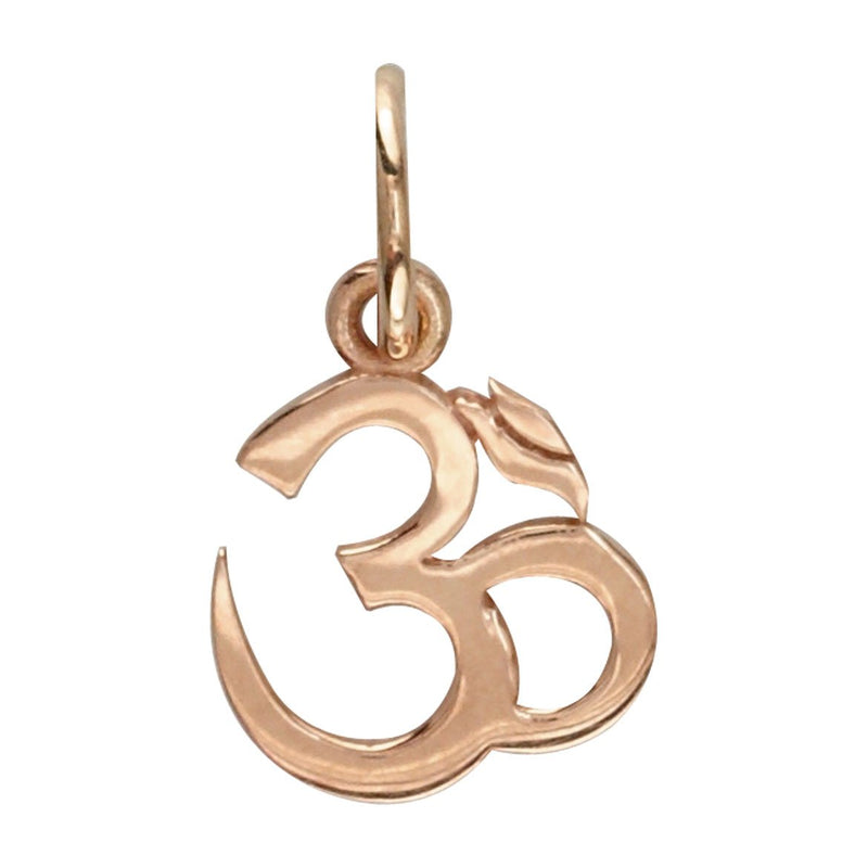 Mini Classic Yoga Ohm, Om, Aum Charm in 14k Pink Gold