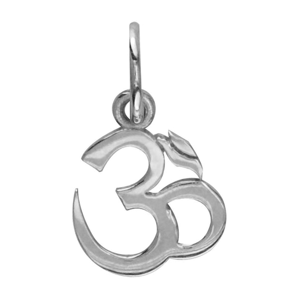 Mini Classic Yoga Ohm, Om, Aum Charm in 14k White Gold