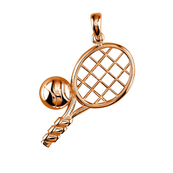 Solid Tennis Racket And Tennis Ball Charm In 14k Pink