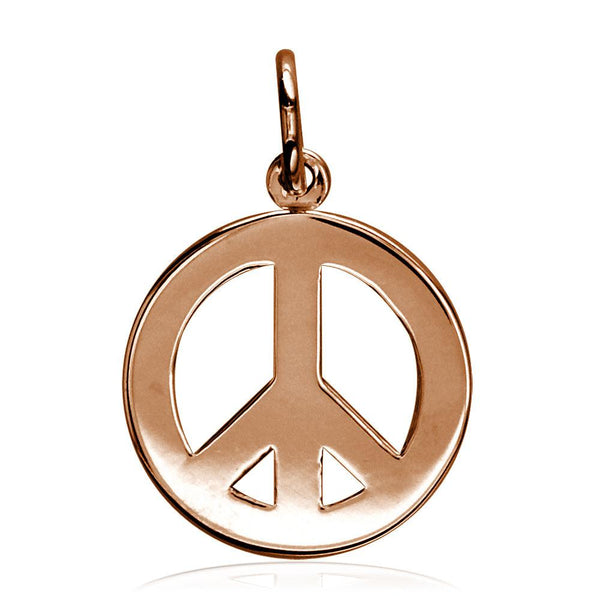 Small Peace Sign Charm, Half Inch in 14K Pink, Rose Gold