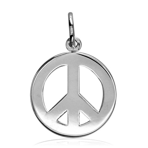 Small Peace Sign Charm, Half Inch in Sterling Silver