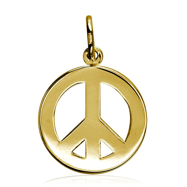 Small Peace Sign Charm, Half Inch in 14K Yellow Gold