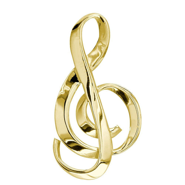 Extra Large Treble Clef Ribbon Charm in 14K Yellow Gold