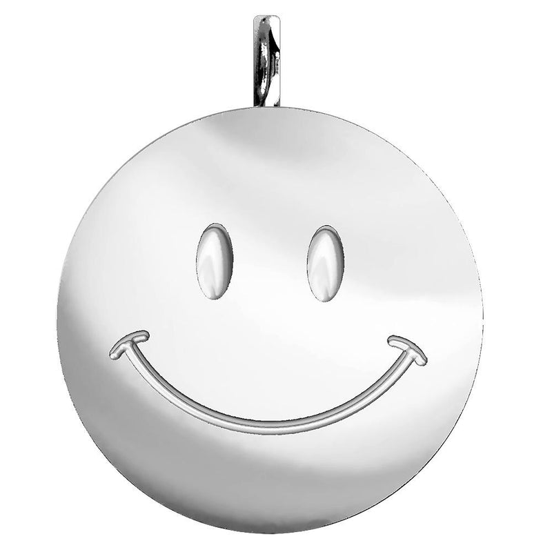 Extra Large Happy, Smiley Face Charm in Sterling Silver