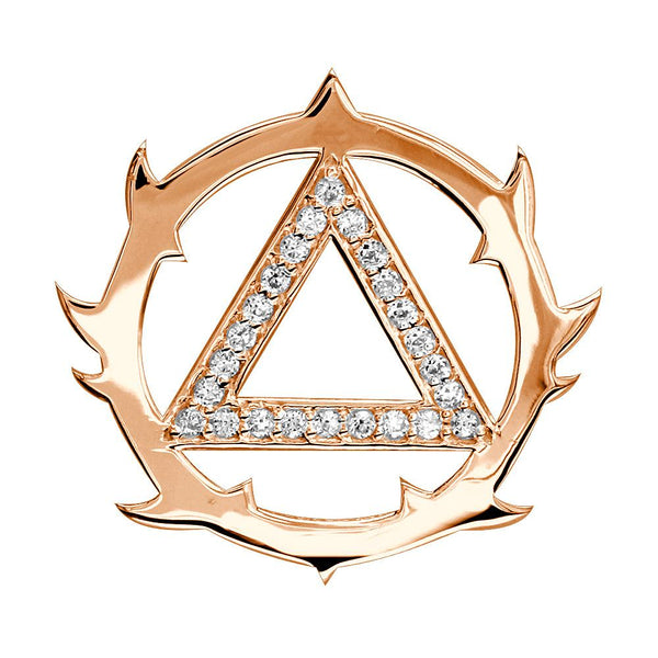 Tribal Look Cubic Zirconia AA Alcoholics Anonymous Sobriety Pendant in 14K Pink, Rose Gold