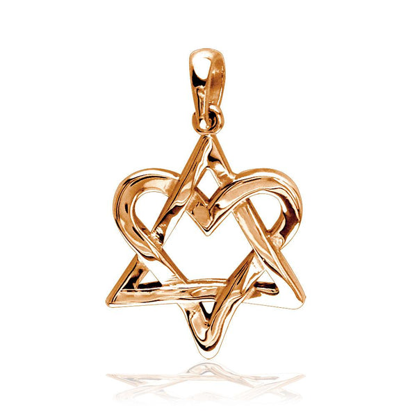 Small Heart Star Of David, Jewish Star Charm, 17mm in 14K Pink Gold