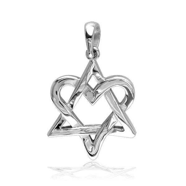 Small Heart Star Of David, Jewish Star Charm, 17mm in Sterling Silver