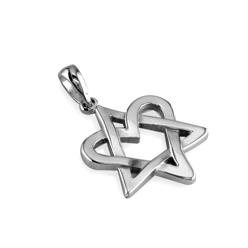 Small Heart Star Of David, Jewish Star Charm, 17mm in 14K White Gold