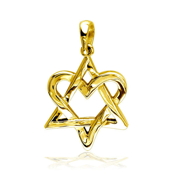 Small Heart Star Of David, Jewish Star Charm, 17mm in 14K Yellow Gold