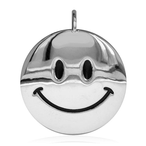 Large Happy, Smiley Face Charm with Black in Sterling Silver