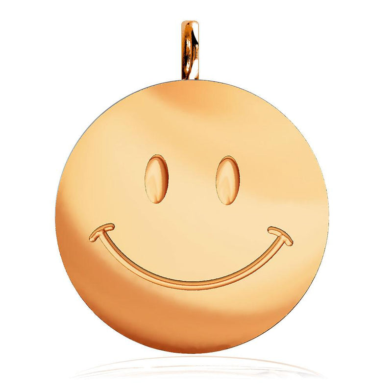 Large Happy, Smiley Face Charm in 14K Pink, Rose Gold