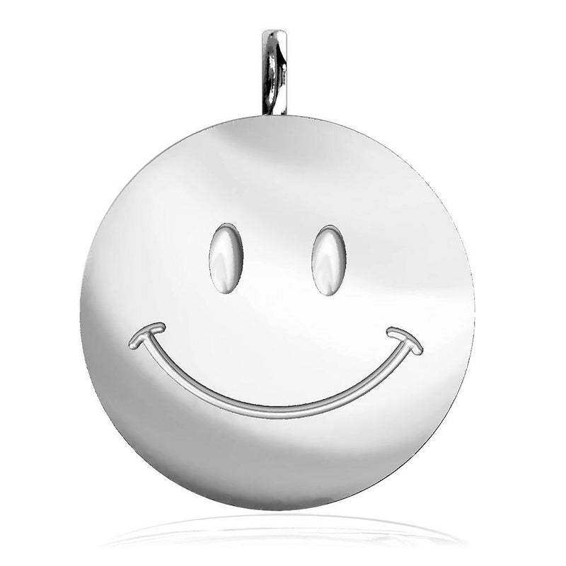 Large Happy, Smiley Face Charm in 14K White Gold