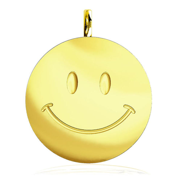 Large Happy, Smiley Face Charm in 14K Yellow Gold