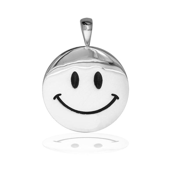Medium Happy, Smiley Face Charm with Black in Sterling Silver